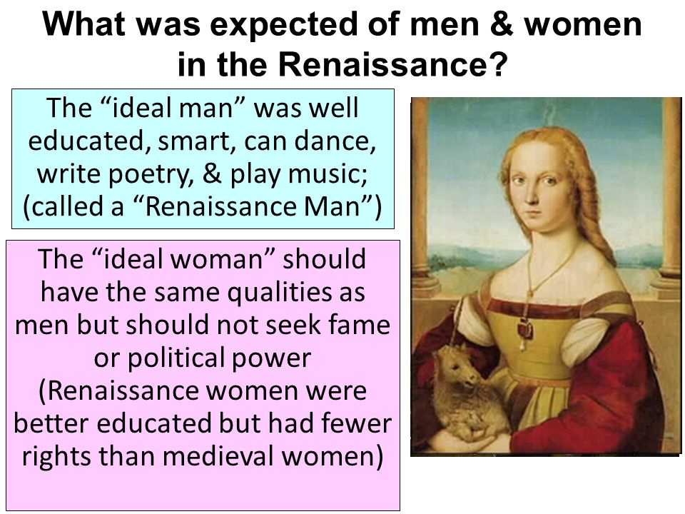 What was expected of men & women in the Renaissance