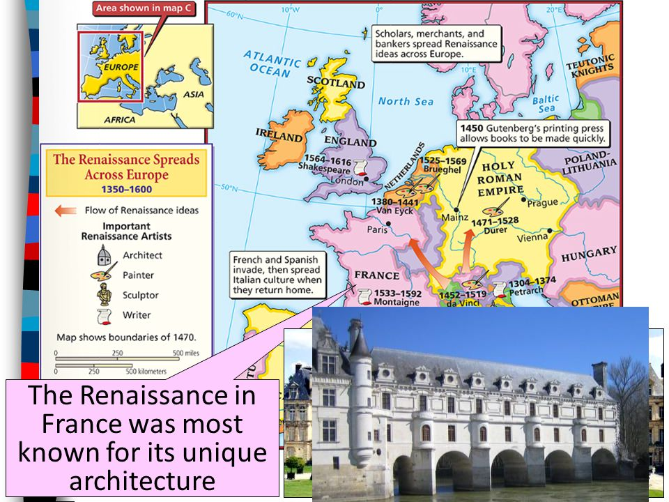 The Renaissance in France was most known for its unique architecture