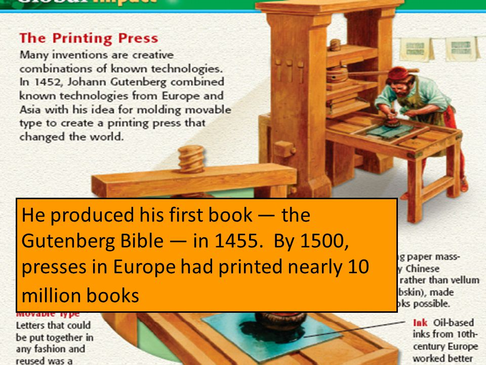 He produced his first book — the Gutenberg Bible — in 1455