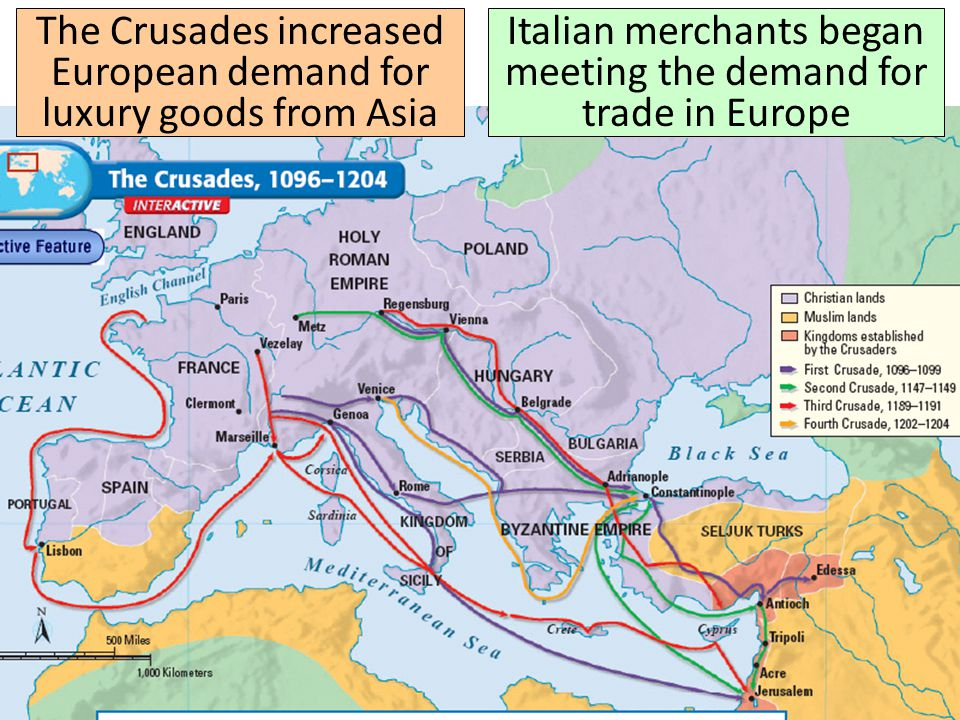 The Crusades increased European demand for luxury goods from Asia