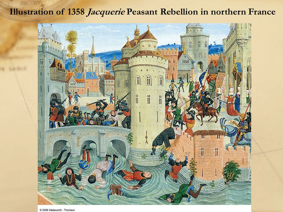 Illustration of 1358 Jacquerie Peasant Rebellion in northern France