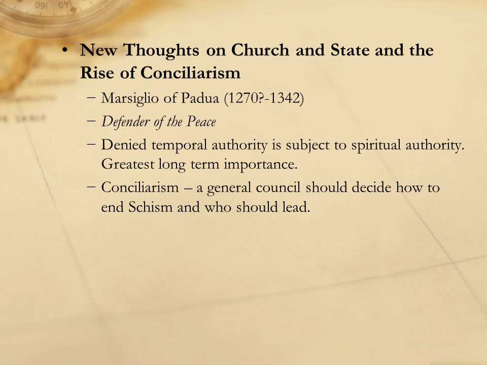 New Thoughts on Church and State and the Rise of Conciliarism