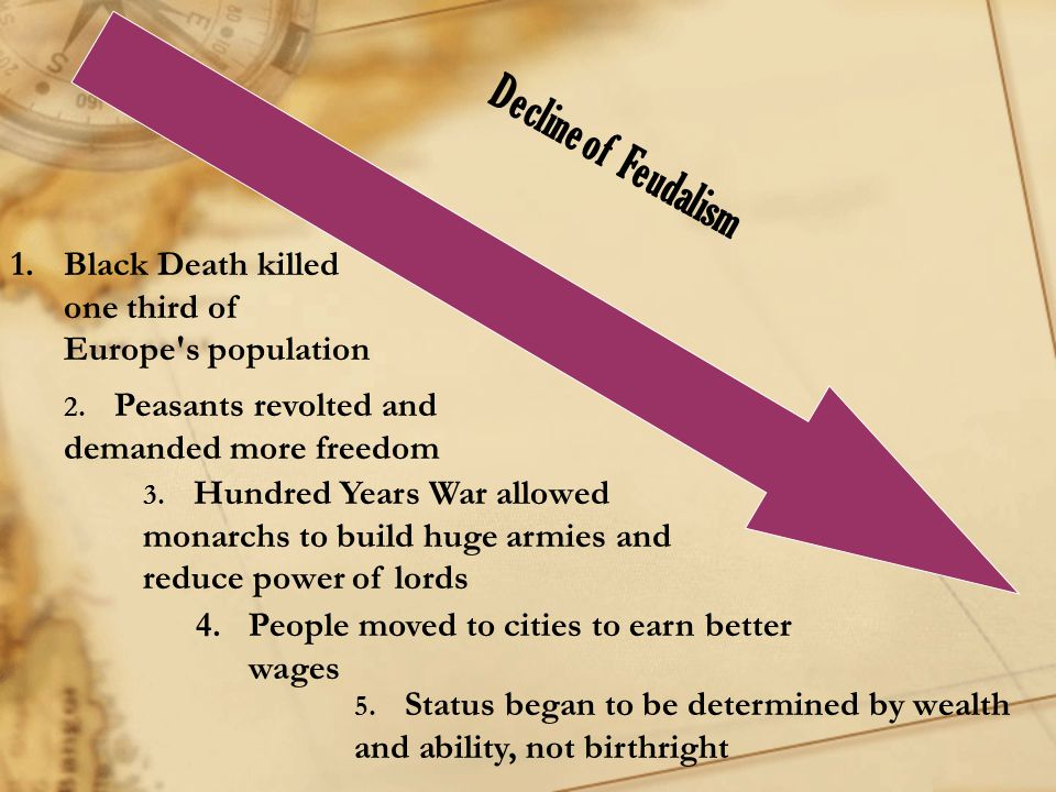 Decline of Feudalism Black Death killed one third of Europe s population. 2. Peasants revolted and demanded more freedom.