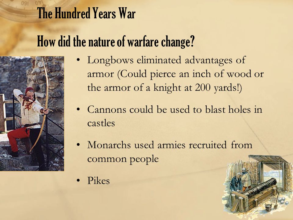 The Hundred Years War How did the nature of warfare change
