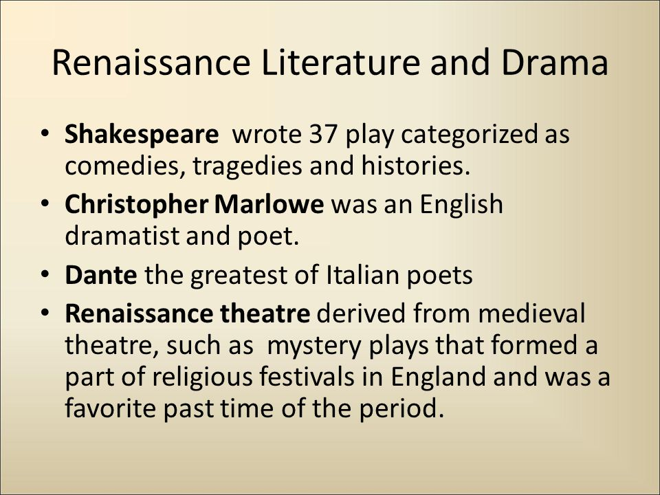 Renaissance Literature and Drama