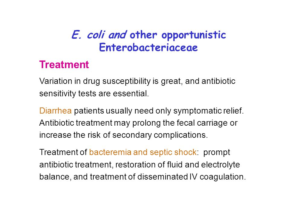 E. coli and other opportunistic Enterobacteriaceae