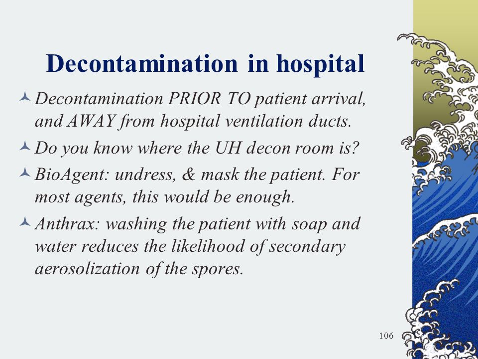 Decontamination in hospital