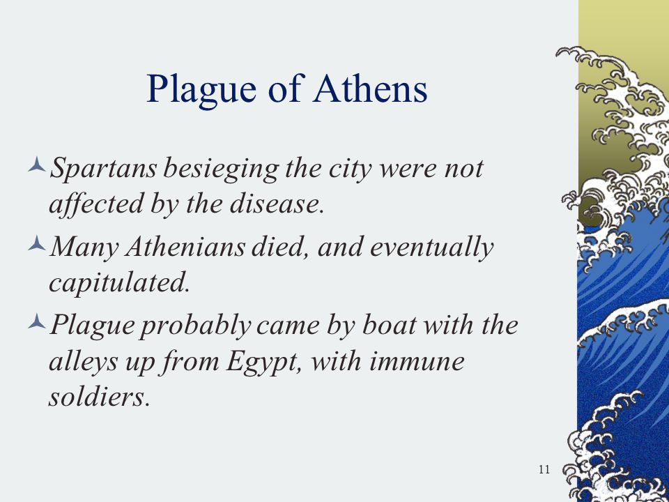 Plague of Athens Spartans besieging the city were not affected by the disease. Many Athenians died, and eventually capitulated.