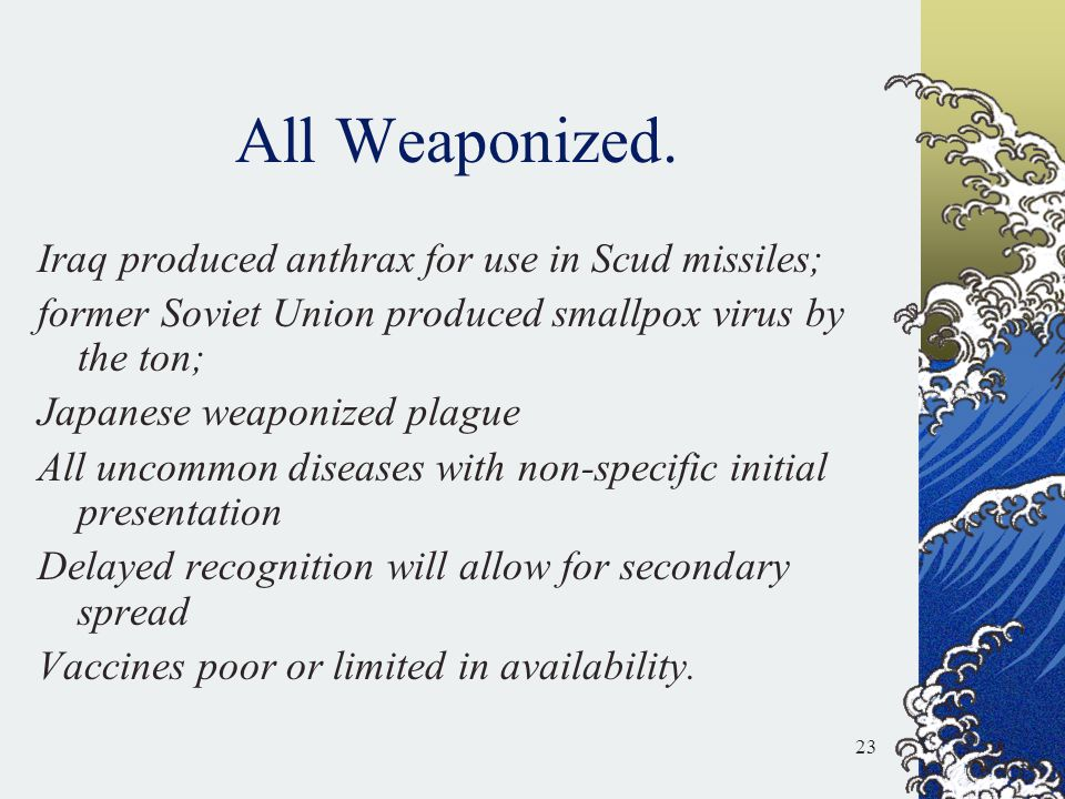 All Weaponized. Iraq produced anthrax for use in Scud missiles;