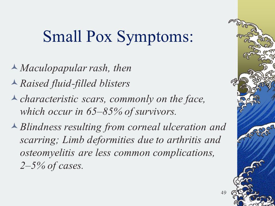 Small Pox Symptoms: Maculopapular rash, then