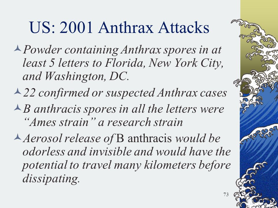 US: 2001 Anthrax Attacks Powder containing Anthrax spores in at least 5 letters to Florida, New York City, and Washington, DC.