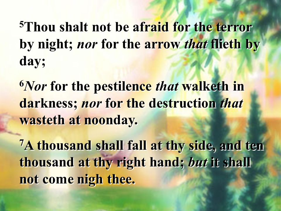 5Thou shalt not be afraid for the terror by night; nor for the arrow that flieth by day;