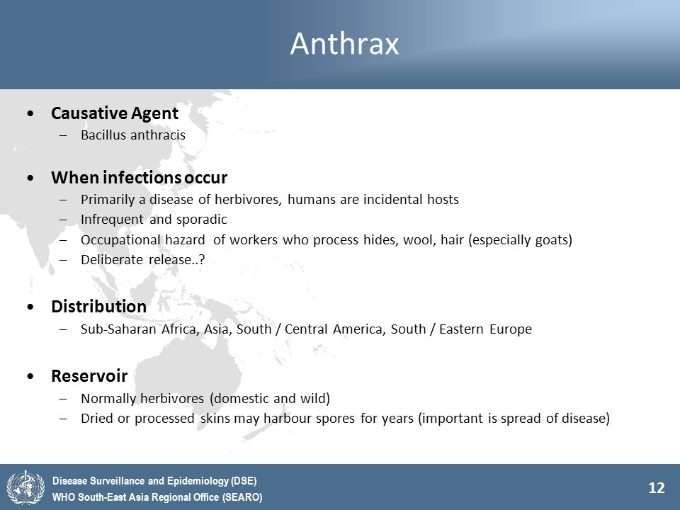 Anthrax Causative Agent When infections occur Distribution Reservoir