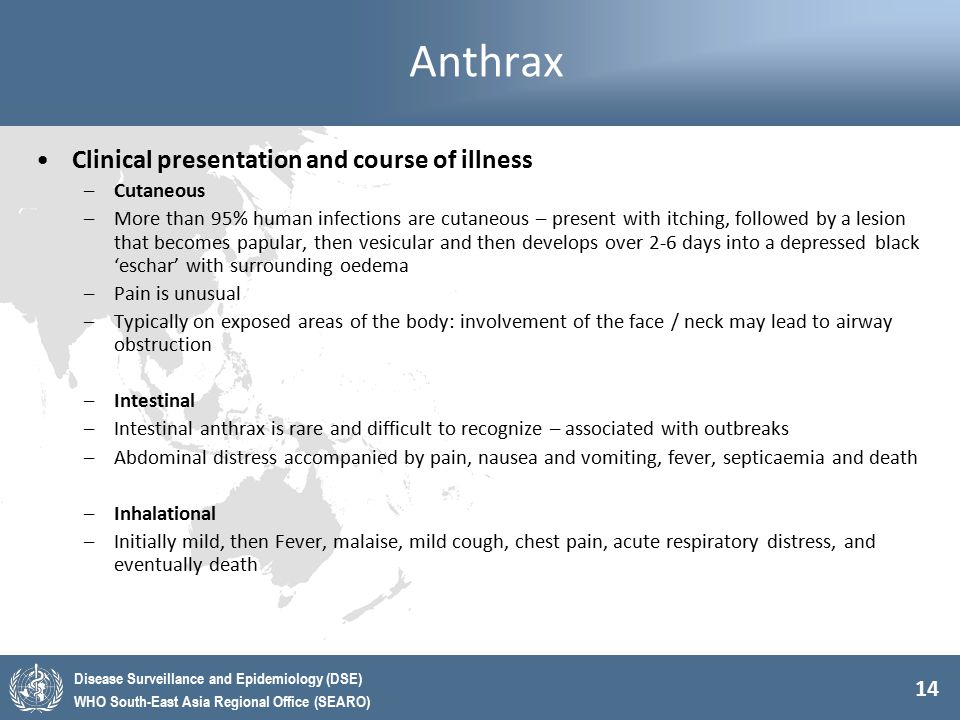 Anthrax Clinical presentation and course of illness Cutaneous