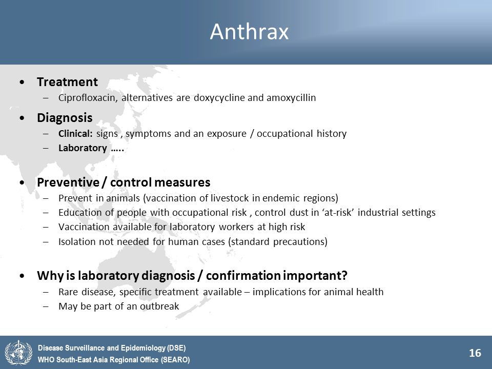 Anthrax Treatment Diagnosis Preventive / control measures