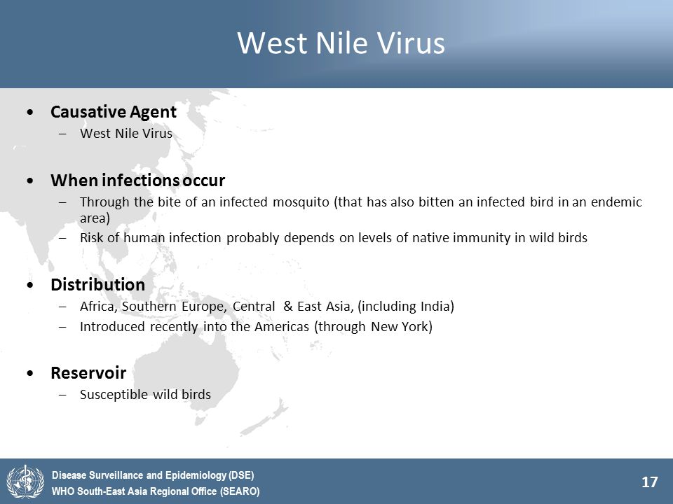 West Nile Virus Causative Agent When infections occur Distribution