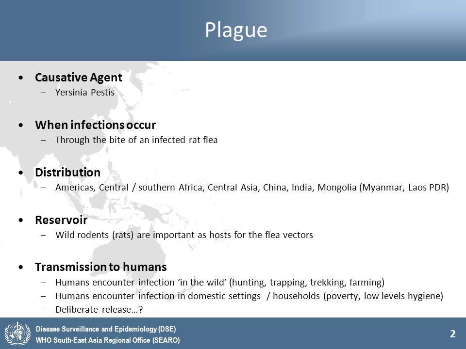 Plague Causative Agent When infections occur Distribution Reservoir