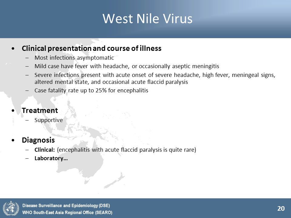 West Nile Virus Clinical presentation and course of illness Treatment