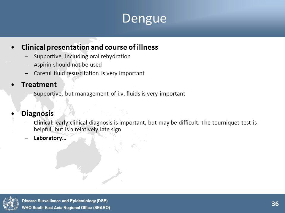 Dengue Clinical presentation and course of illness Treatment Diagnosis
