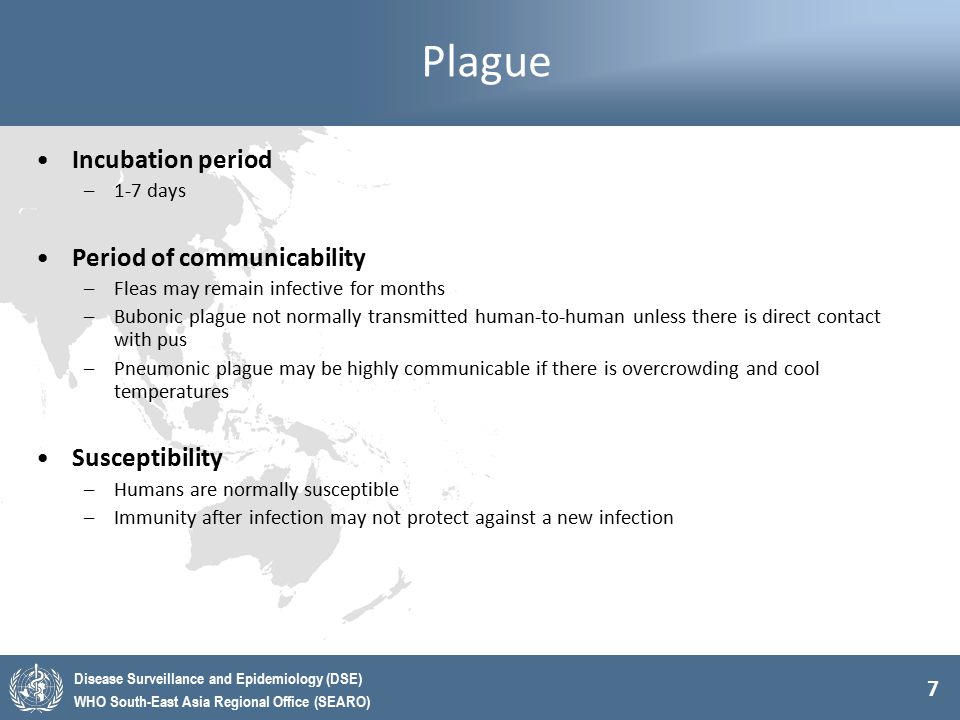 Plague Incubation period Period of communicability Susceptibility