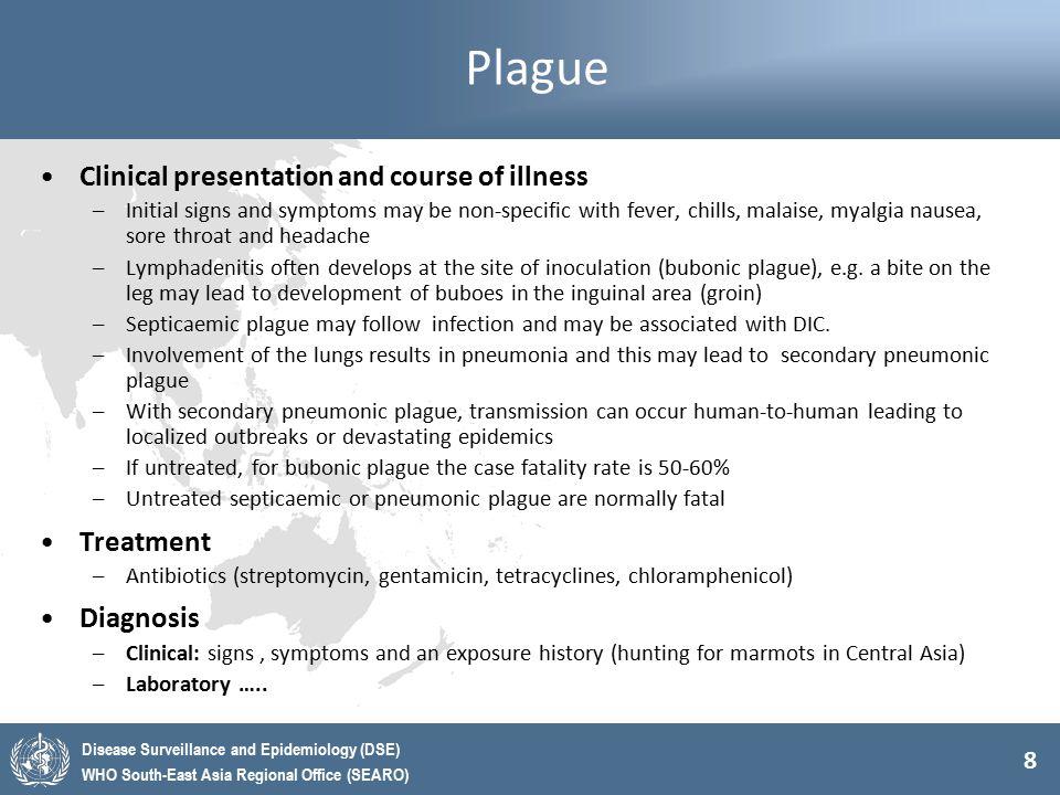 Plague Clinical presentation and course of illness Treatment Diagnosis