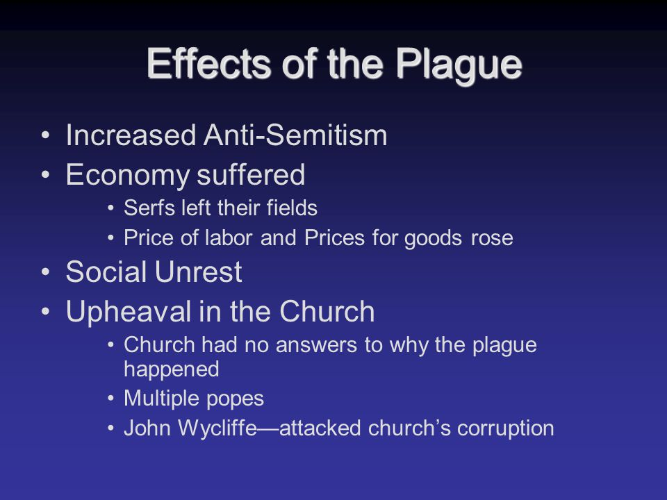 Effects of the Plague Increased Anti-Semitism Economy suffered