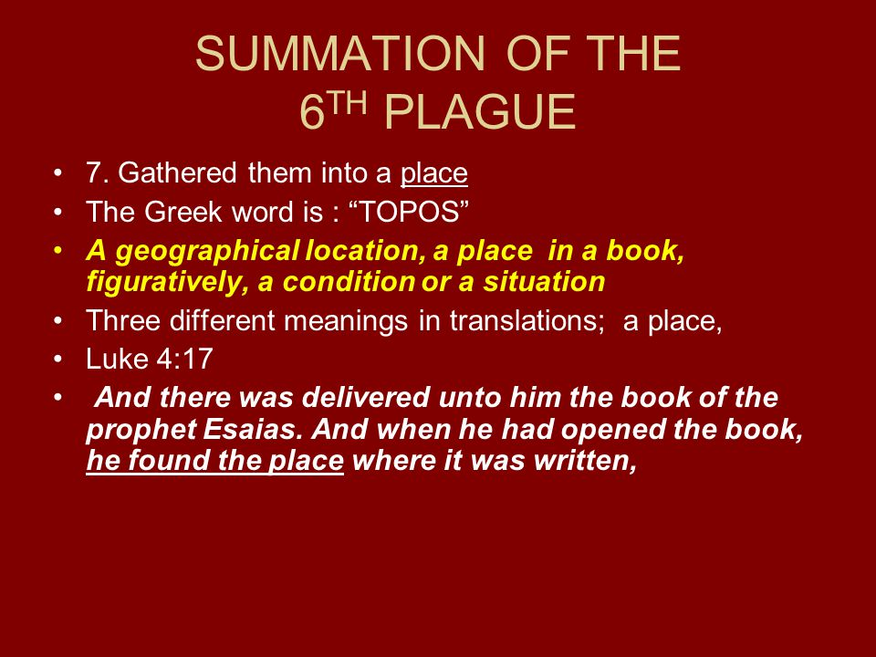 SUMMATION OF THE 6TH PLAGUE