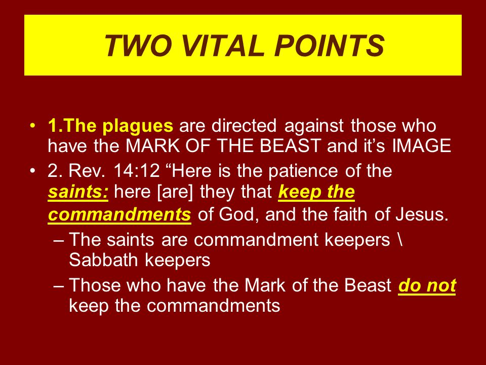 TWO VITAL POINTS 1.The plagues are directed against those who have the MARK OF THE BEAST and it's IMAGE.