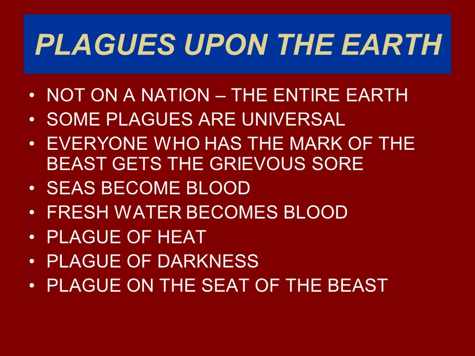 PLAGUES UPON THE EARTH NOT ON A NATION – THE ENTIRE EARTH