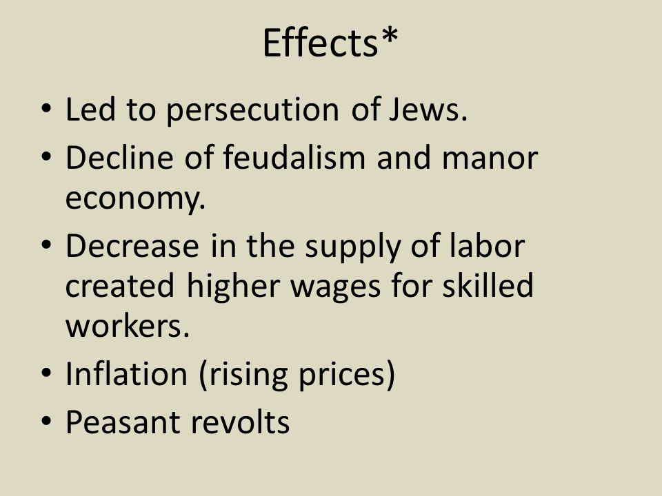 Effects* Led to persecution of Jews.