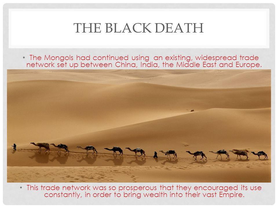 The Black Death The Mongols had continued using an existing, widespread trade network set up between China, India, the Middle East and Europe.