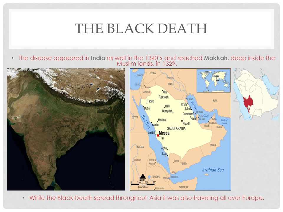 The Black Death The disease appeared in India as well in the 1340's and reached Makkah, deep inside the Muslim lands, in 1329.