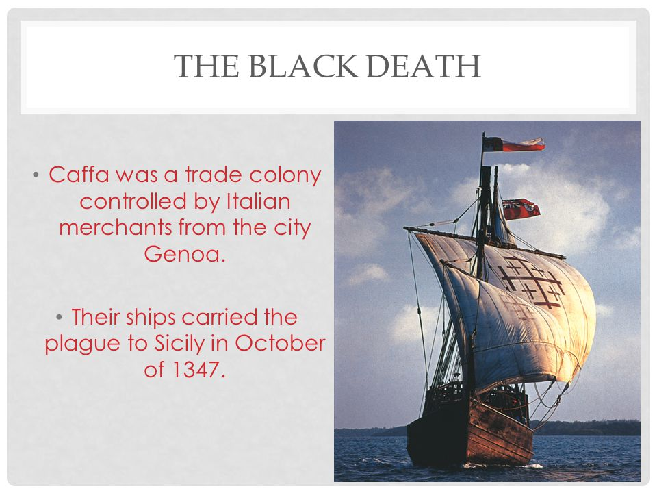 Their ships carried the plague to Sicily in October of 1347.