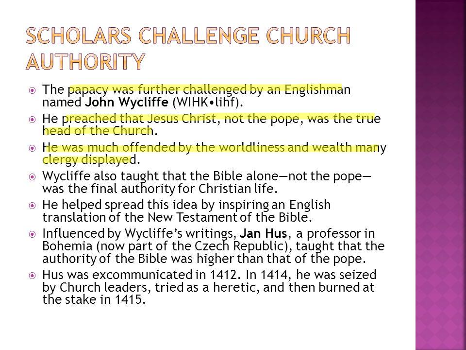 Scholars Challenge Church Authority
