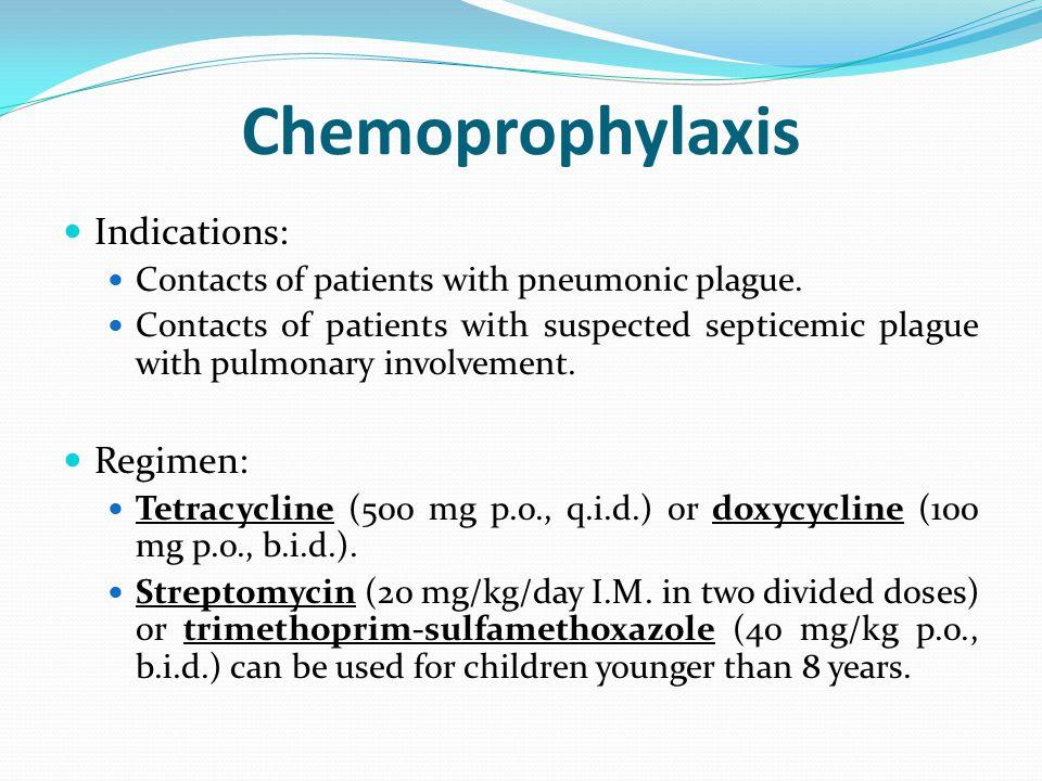 Chemoprophylaxis Indications: Regimen: