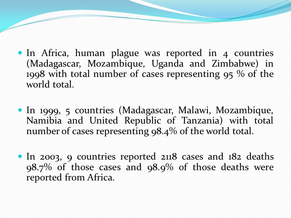 In Africa, human plague was reported in 4 countries (Madagascar, Mozambique, Uganda and Zimbabwe) in 1998 with total number of cases representing 95 % of the world total.