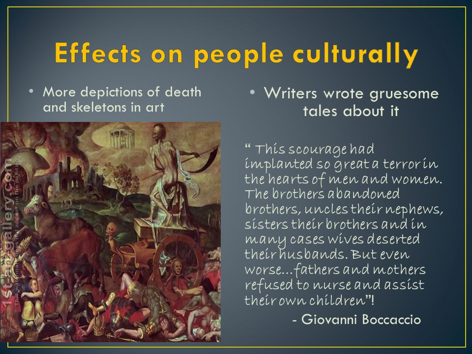 Effects on people culturally