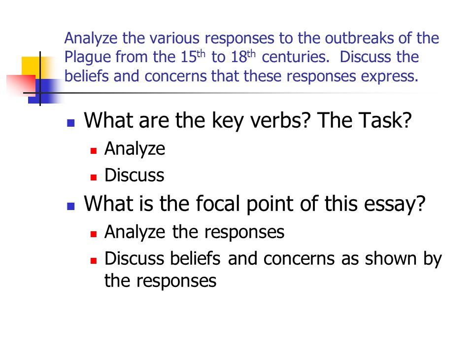What are the key verbs The Task