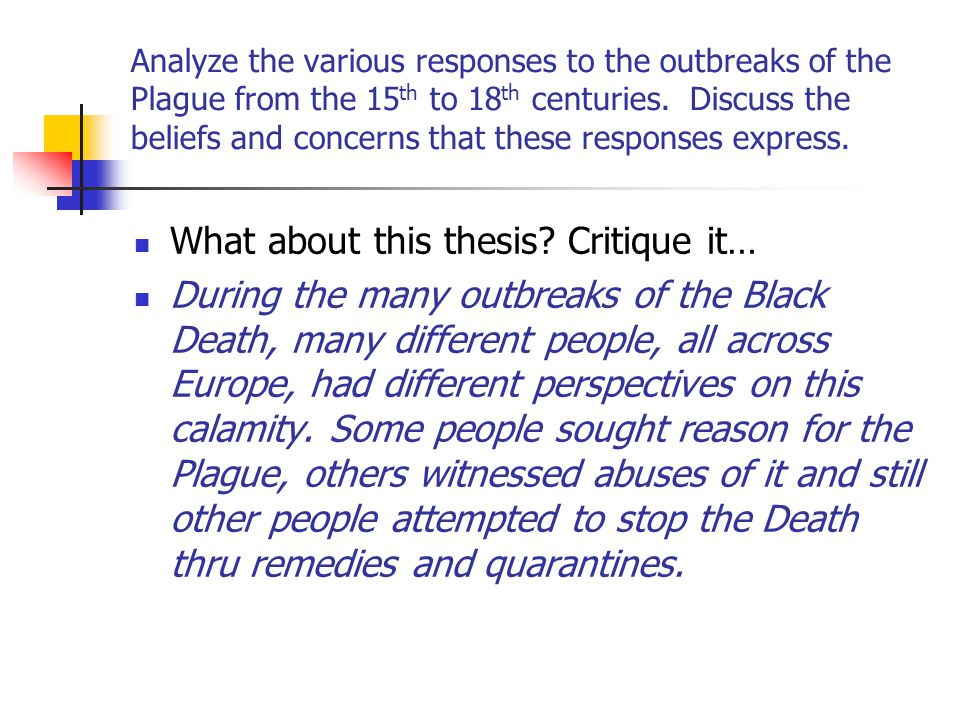 What about this thesis Critique it…
