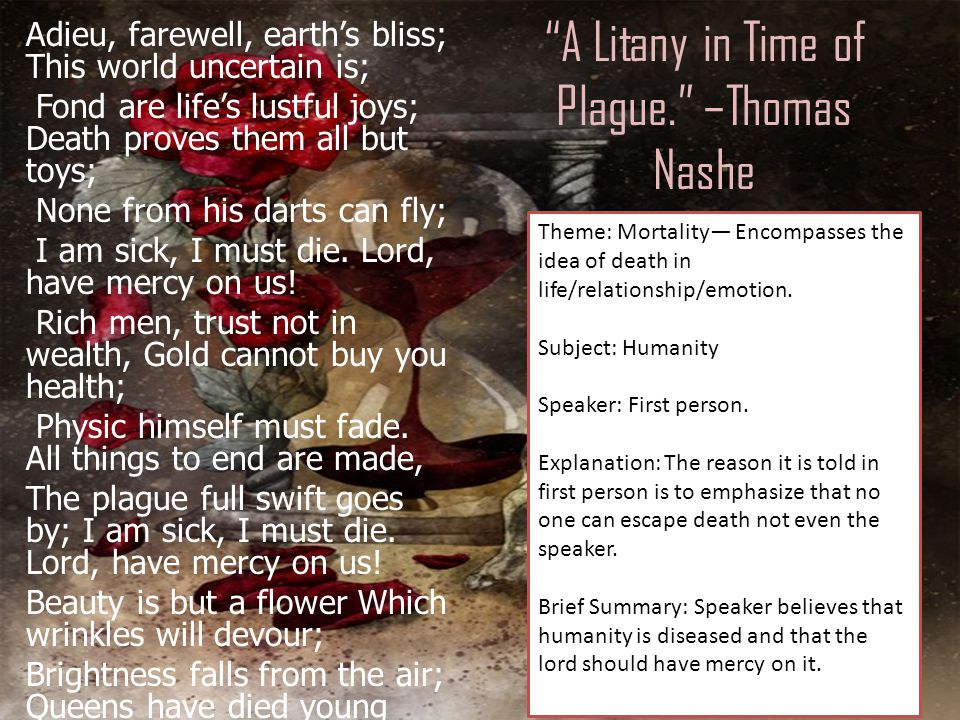 A Litany in Time of Plague. –Thomas Nashe