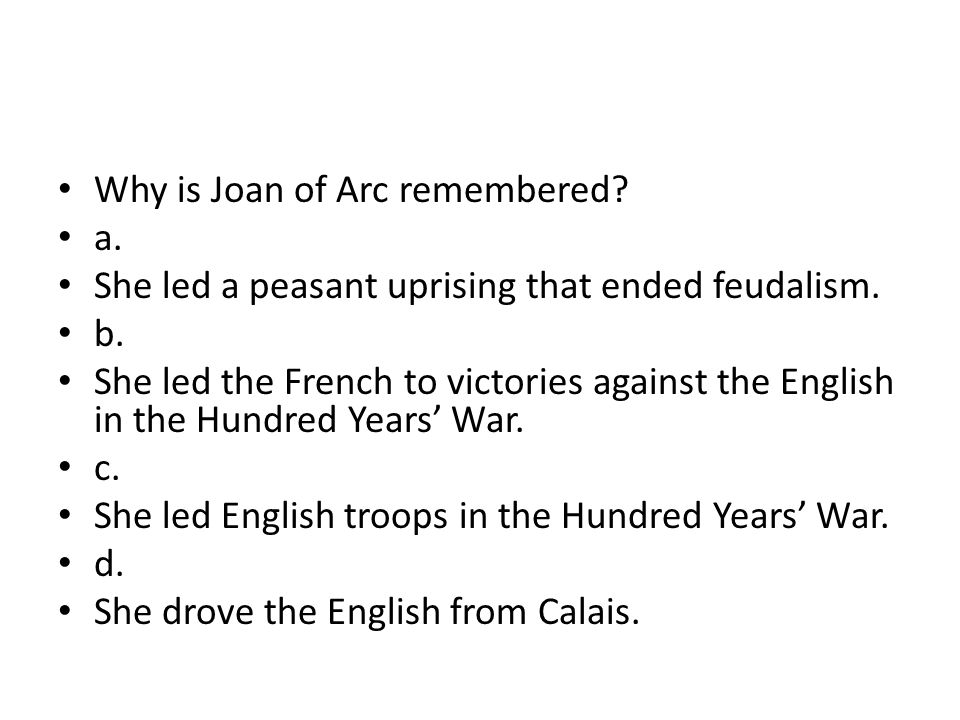 Why is Joan of Arc remembered