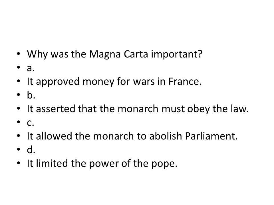 Why was the Magna Carta important