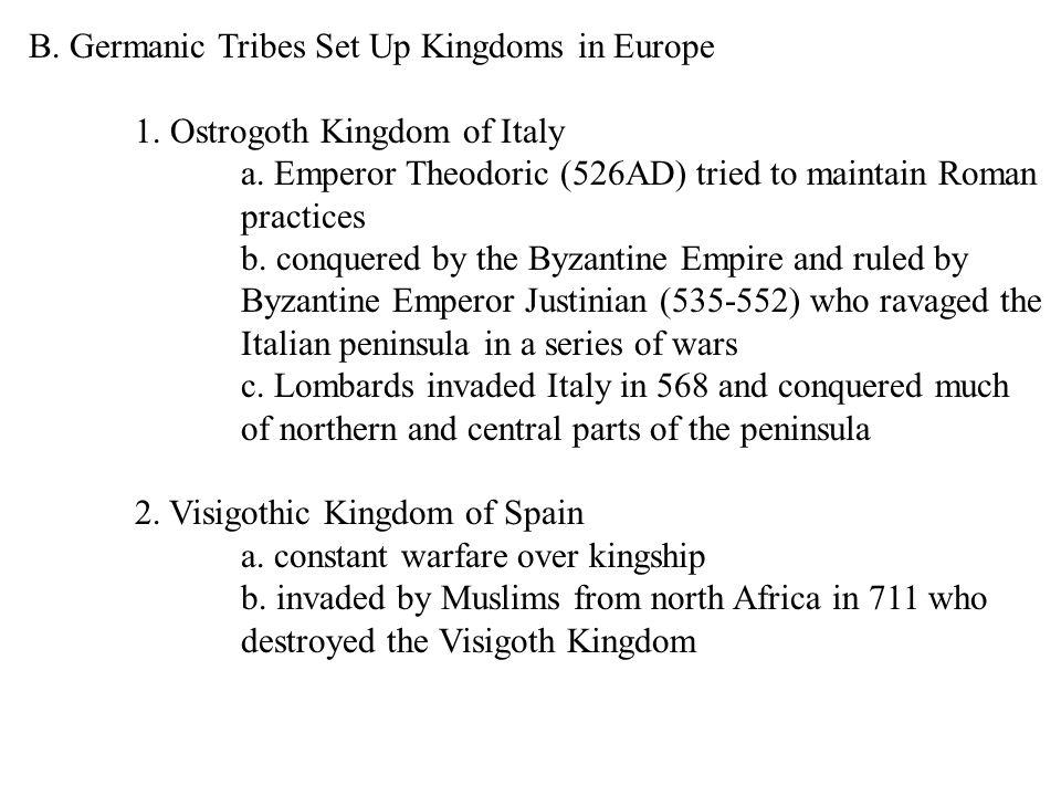B. Germanic Tribes Set Up Kingdoms in Europe