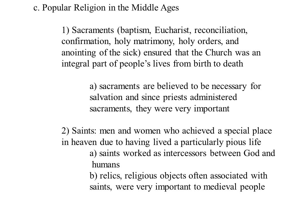 c. Popular Religion in the Middle Ages