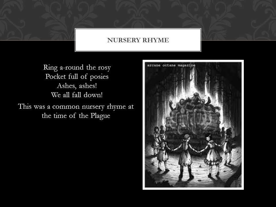 Nursery Rhyme Ring a-round the rosy Pocket full of posies Ashes, ashes.