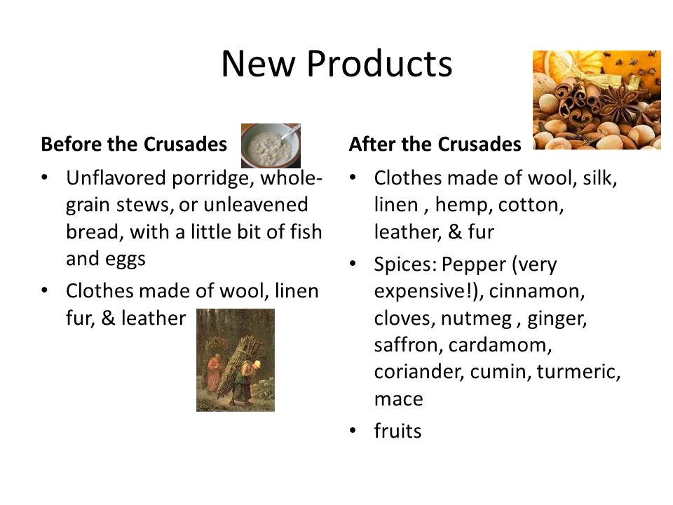 New Products Before the Crusades After the Crusades