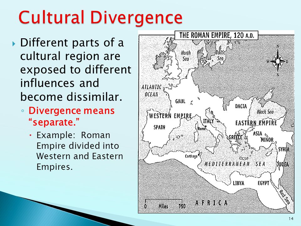 Cultural Divergence Different parts of a cultural region are exposed to different influences and become dissimilar.