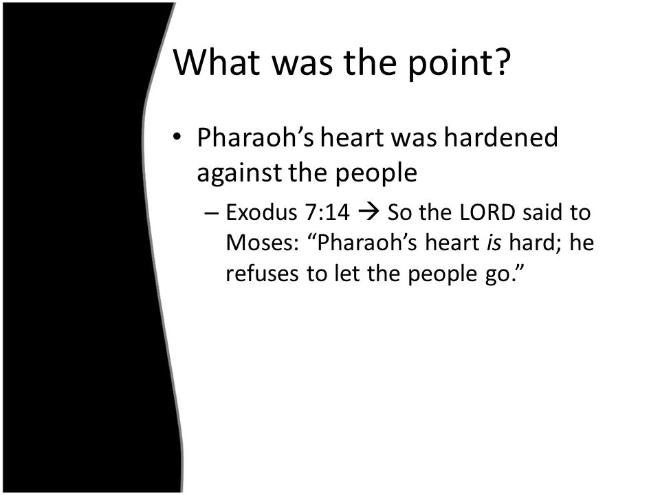 What was the point Pharaoh's heart was hardened against the people
