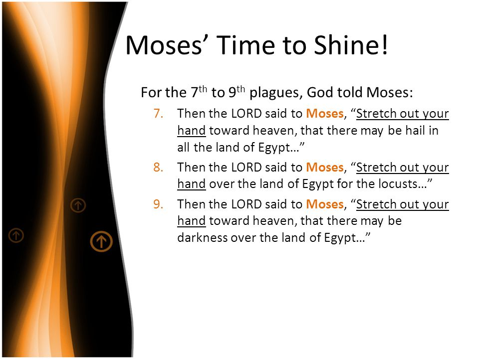 Moses' Time to Shine! For the 7th to 9th plagues, God told Moses: