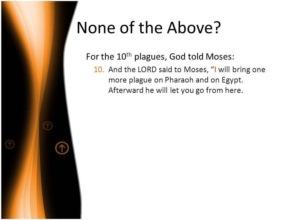 None of the Above For the 10th plagues, God told Moses: